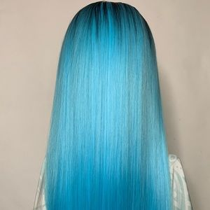 Dark Root Blue Synthetic Long Wig